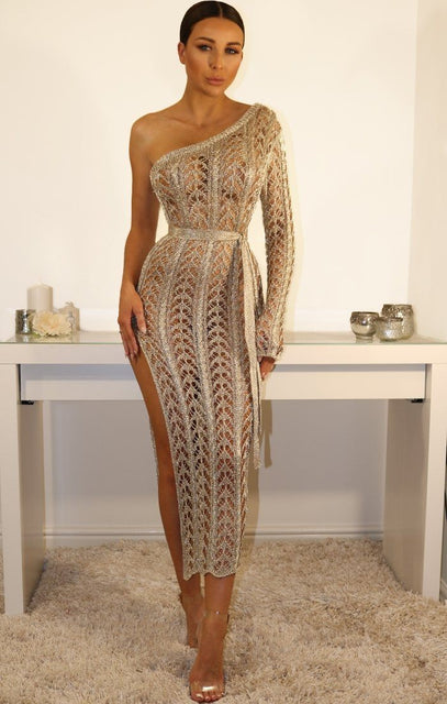 Metallic Knit Gold One Shoulder Maxi Dress