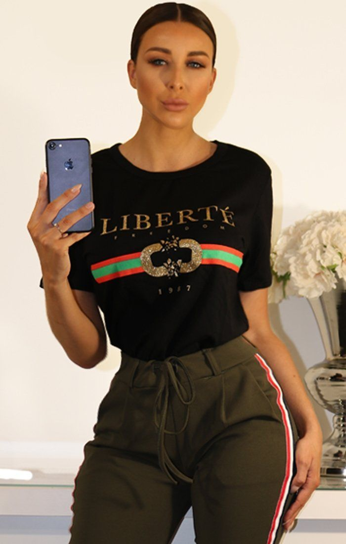 Black Liberte Slogan T-shirt