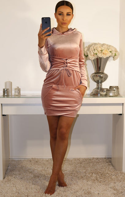 Rose Corset Velour Hooded Jumper Dress