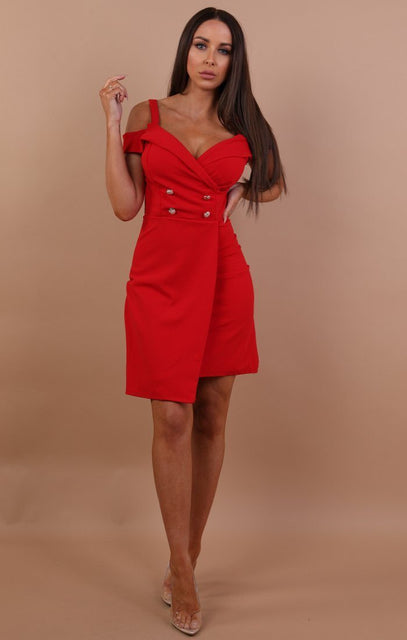Red Cold Shoulder Blazer Dress - Nikki
