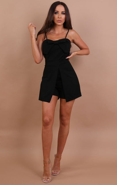 Black Bow Front Playsuit - Amaya