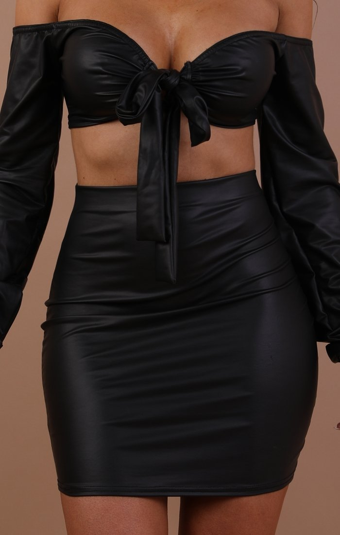 Black Faux Leather Co-ord Set - Aria