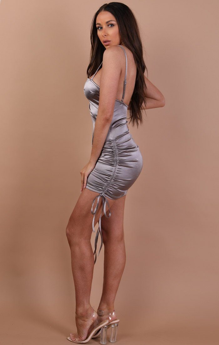 Grey Ruched Satin Mini Dress-naomi