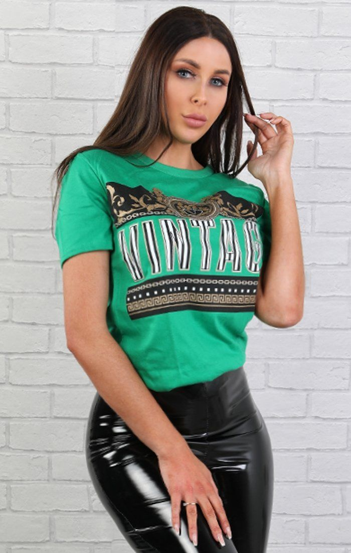 Green 'vintage' Scarf Detail T-shirt - Lillian