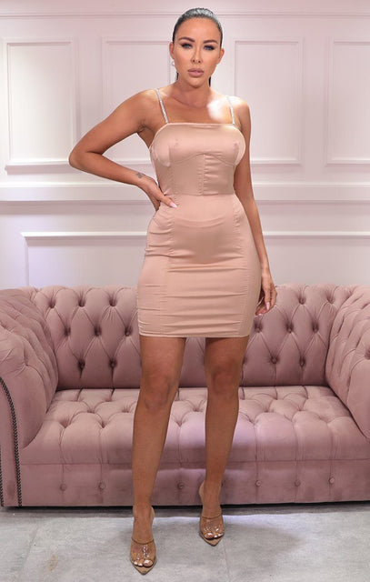 Apricot Satin Underwired Corset Bodycon Mini Dress - North