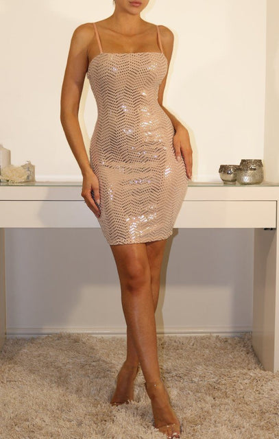 Nude Sequin Bodycon Mini Dress