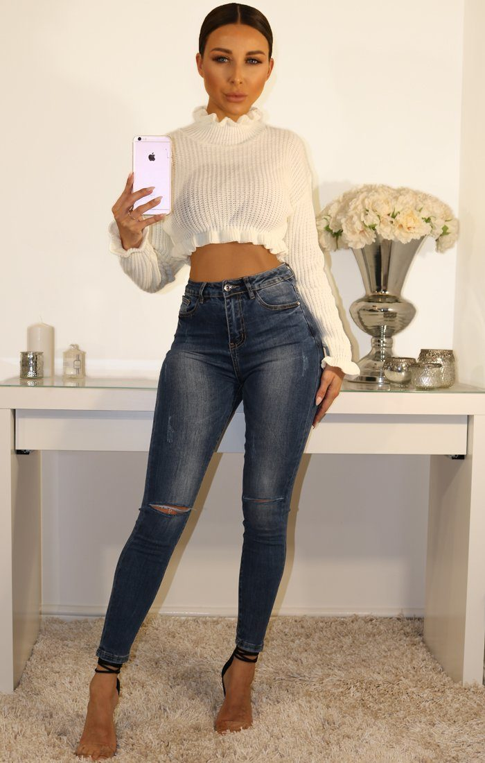 White Ruffle Hem Chunky Knit Crop Jumper