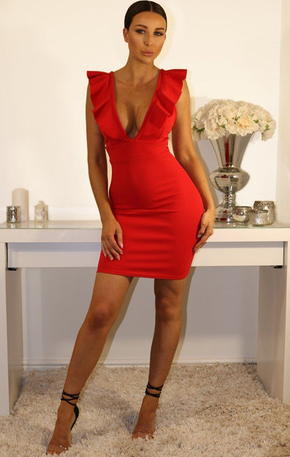 Red Frill Sleeve Bodycon Dress