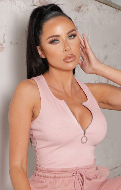 Baby Pink Zip Up Ribbed Crop Top - Sarah