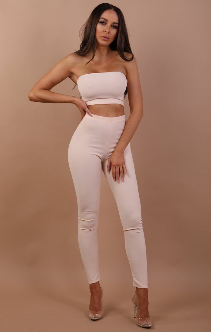 Nude Bandeau Two Piece Co-ord Set - Hadley
