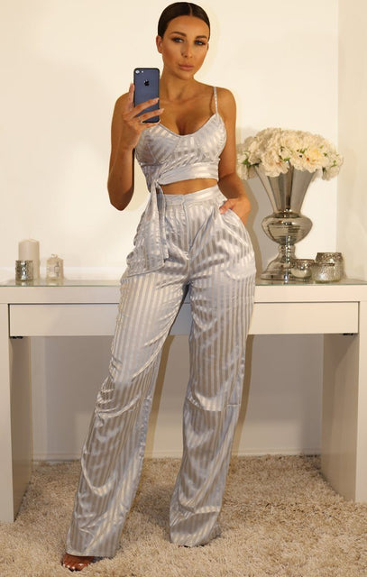 Metallic Grey Pinstripe High Waisted Trousers