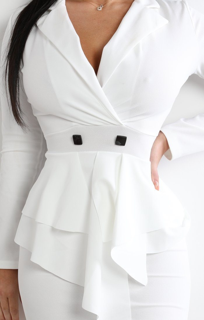 White Frill Front Blazer Dress