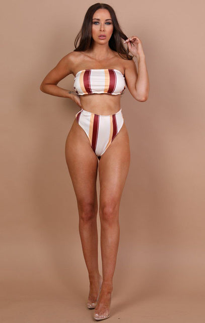Cream With Stripe Detail Bikini Top - Carla