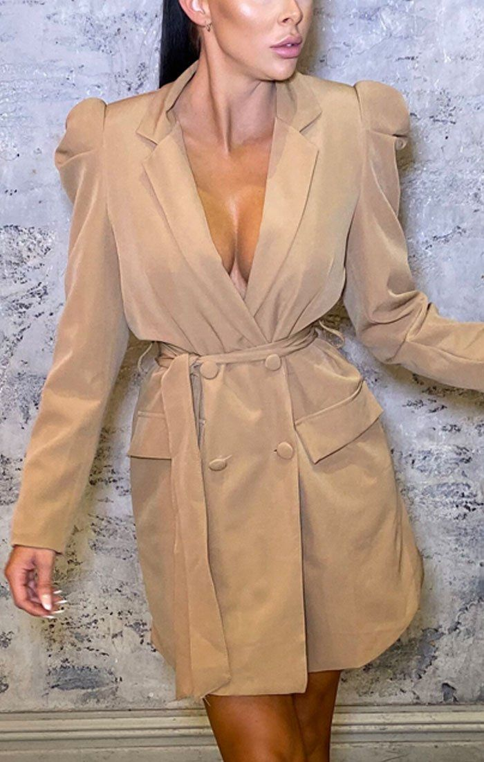Beige Classic Double Breasted Mini Jacket Dress - Mason