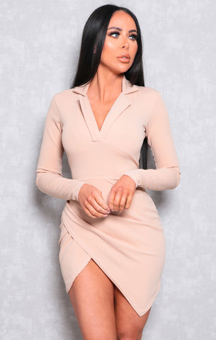 Beige Wrap Dresses