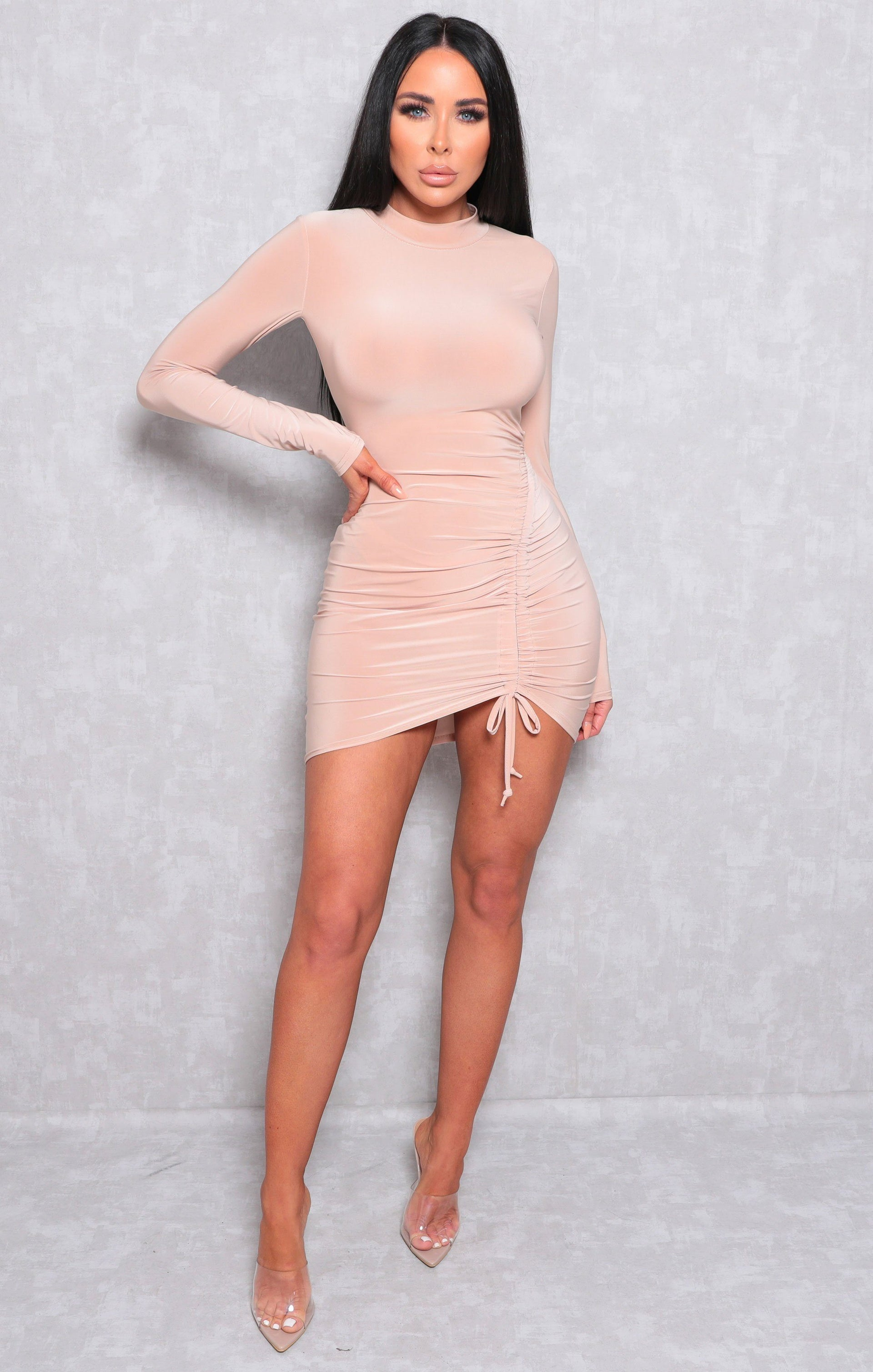 Beige Slinky Ruched Side Bodycon Mini Dress - Jace