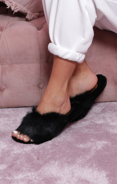 Black All Over Faux Fur Fluffy Slip On Sliders - Saffy