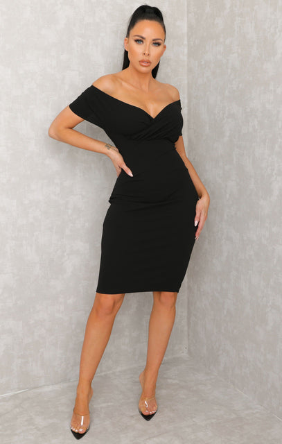 Black Bardot Bodycon Midi Dress - Ash
