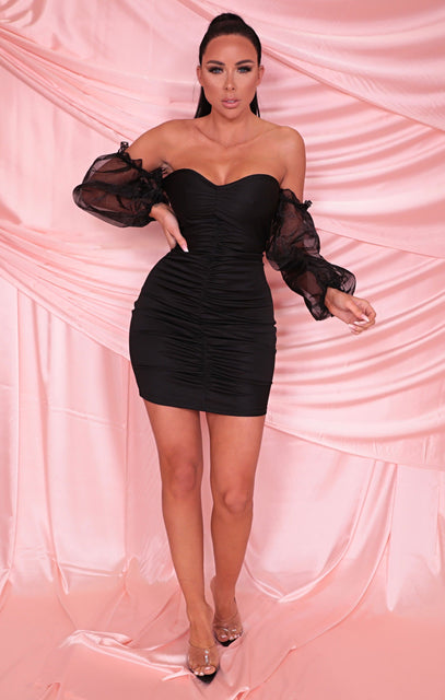 Black Bardot Organza Sleeve Bodycon Mini Dress - Kaya