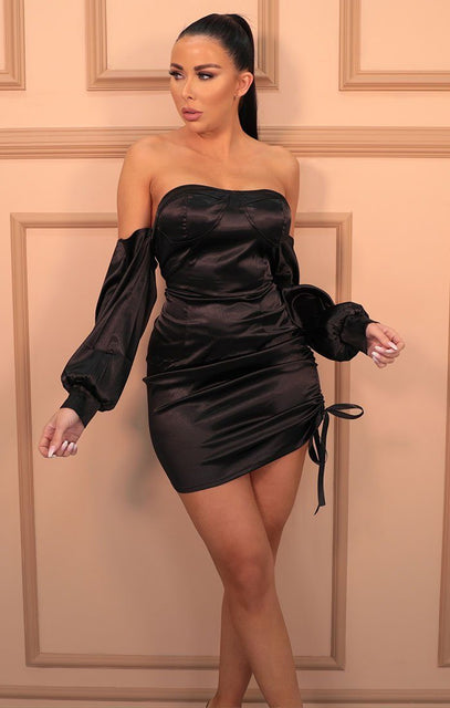 Black Bardot Satin Corset Puff Sleeve Mini Dress - Liana