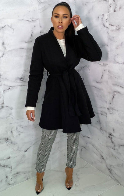 Black Belted Mini Long Sleeve Coat - Lesley