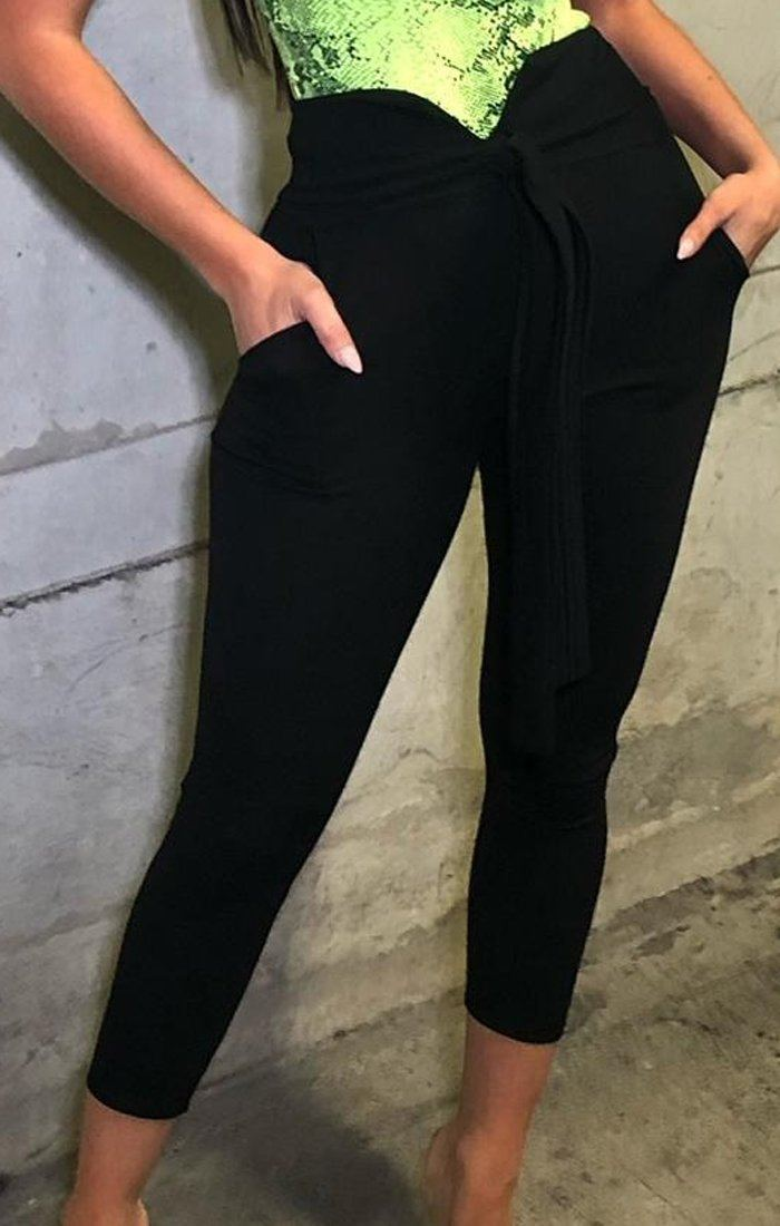 Black Belted Trousers - Sacha