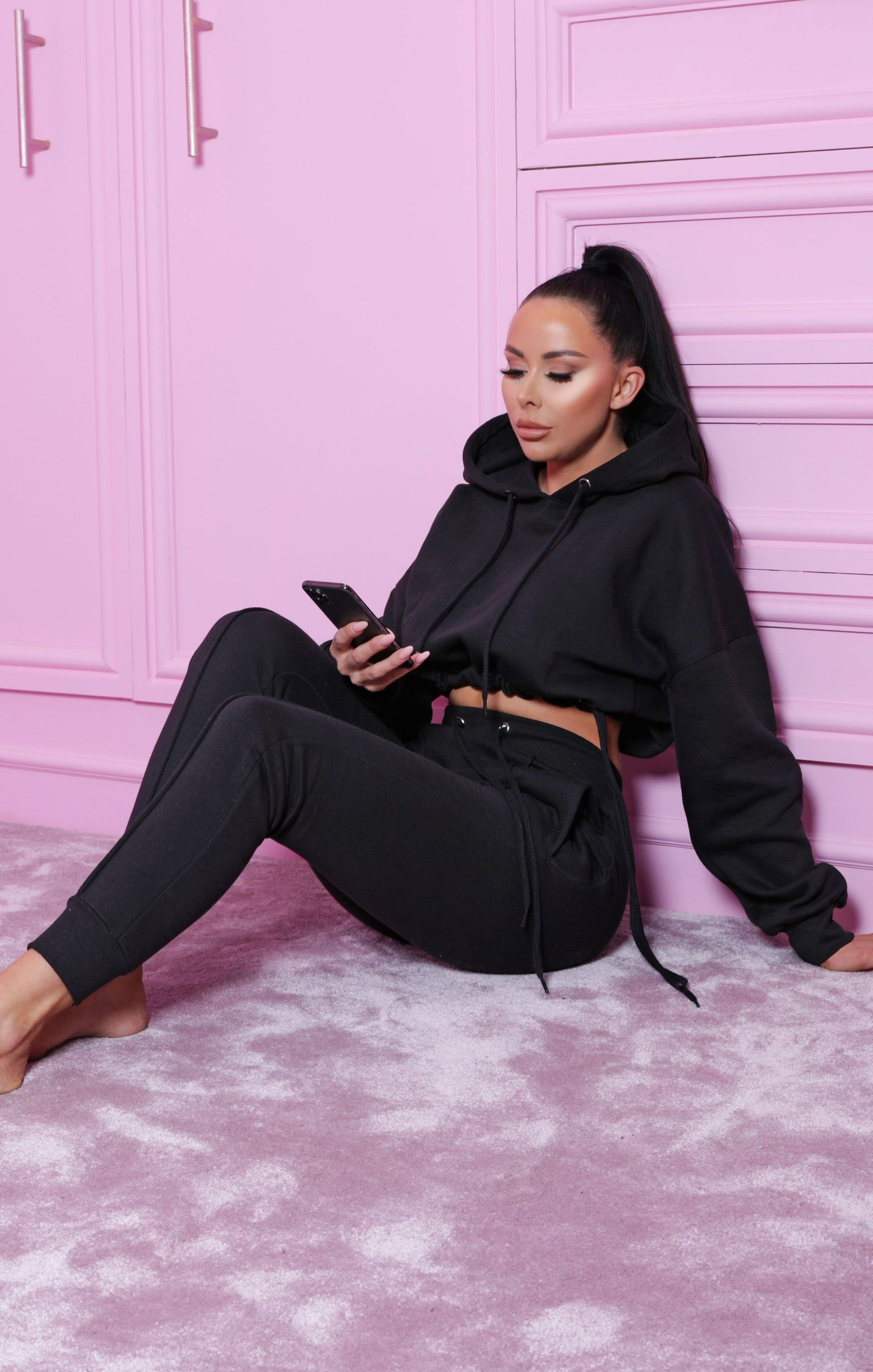Black Boxy Cropped Hoodie Cuffed Joggers Loungewear Set - Cailleigh