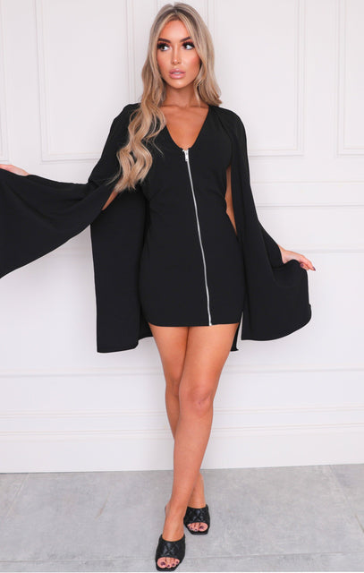 Black Cape Extreme Sleeve Bodycon Mini Dress - Arabella