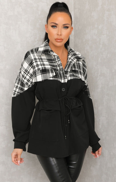 Black Check Contrast Jacket - Ameliana
