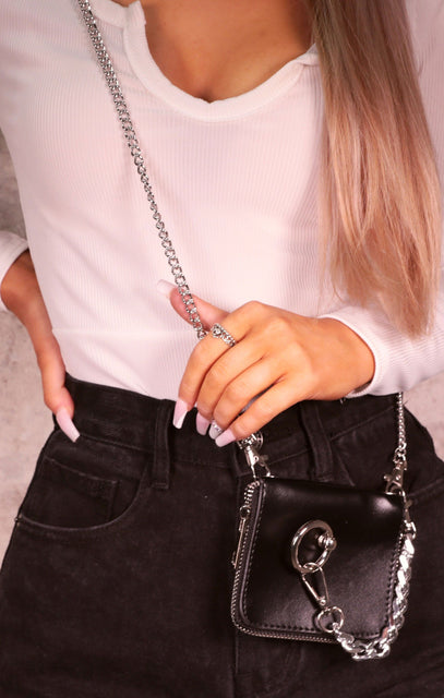 Black Chunky Chain Hoop Detail Mini Bag - Mada