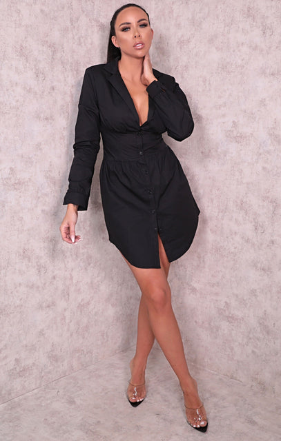 Black Corset Long Sleeve Mini Blazer Dress - Anwen