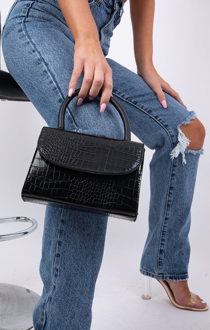 Black Croc Print Square Grab Bag - Claudia