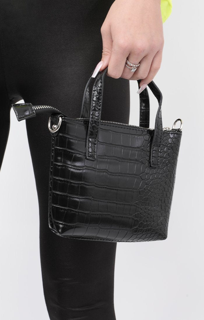 Black Croc Print Tote Grab Bag - Kenni