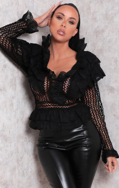 Black Crochet Frill Plunge Long Sleeve Top - Madden