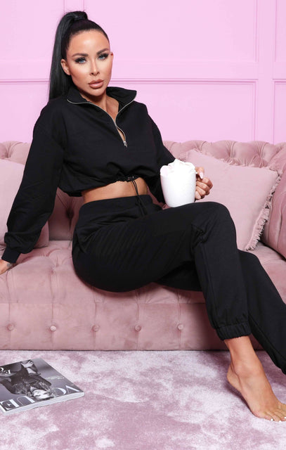 Black Cropped Cuffed Joggers Loungewear Set - Lauren