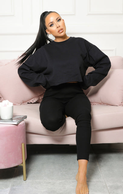 Black Cropped Long Sleeve Jumper - Mila