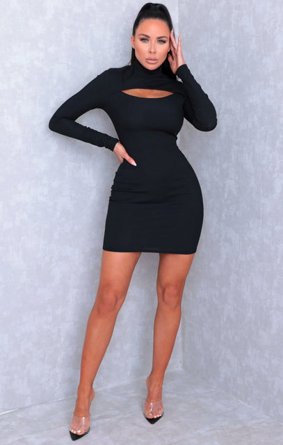 Black Cut Out High Neck Bodycon Mini Dress - Samantha