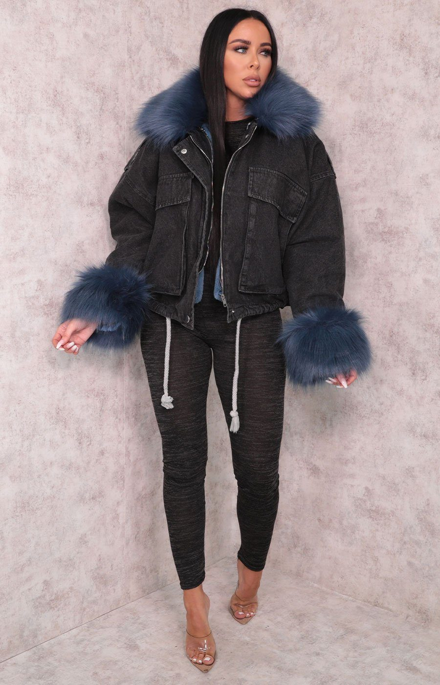 Black Denim Blue Faux Fur Fluffy Oversized Jacket - Sacha