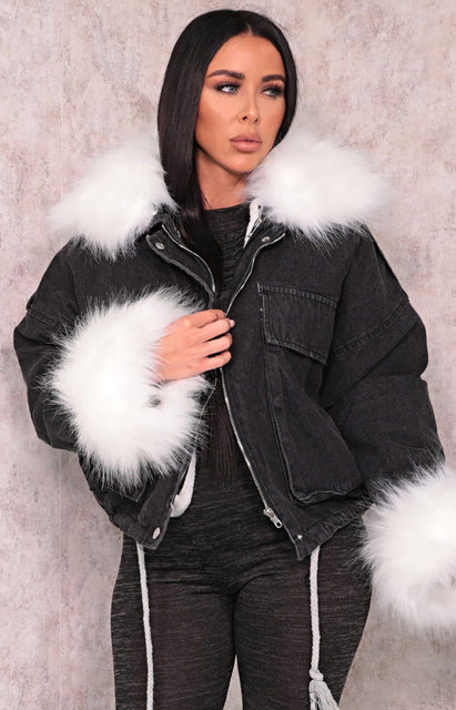 Black Denim White Faux Fur Fluffy Oversized Jacket - Sacha