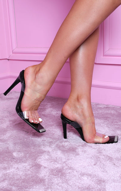 Black Diamante Square Toe Perspex Heels - Emiliana