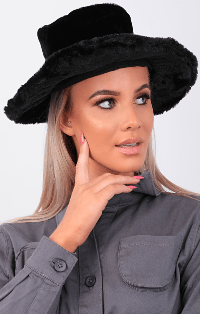 Black Faux Fur Fedora Hat - Maisie