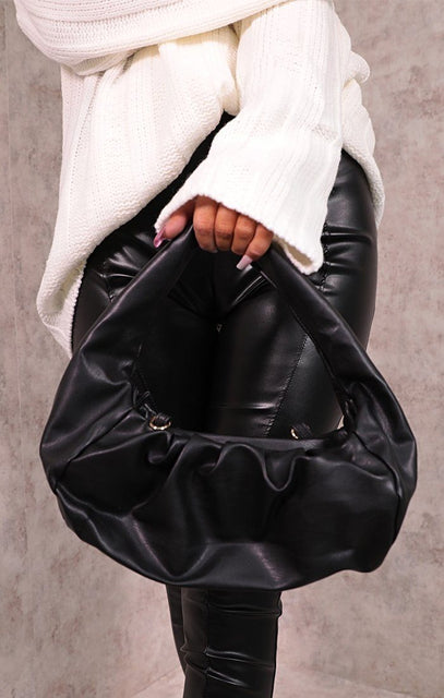 Black Faux Leather Gathered Puff Shoulder Bag - Auora