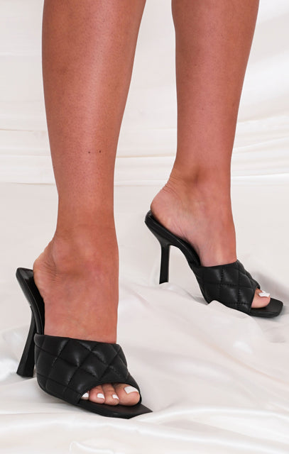 Black Faux Leather Quilted Heel Mules - Acadia