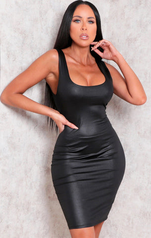 Black Faux Leather Bodycon Dresses