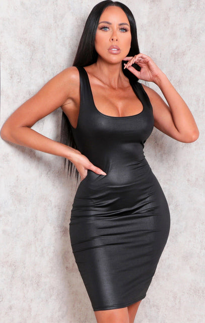 Black Faux Leather Thick Strap Bodycon Mini Dress - Nori