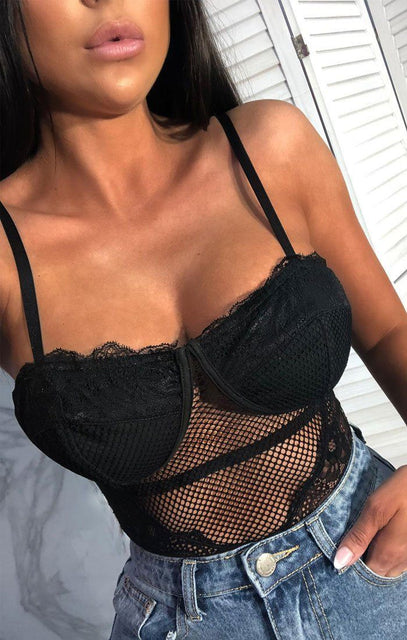 Black Fishnet Half Cup Bodysuit - Keisha