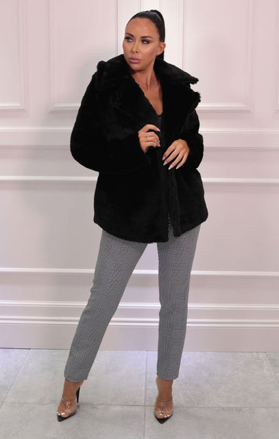 Black Fluffy Faux Fur Oversized Coat - Cierra