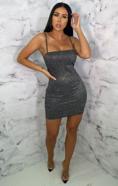Black Glitter Metallic Strappy Bodycon Mini Dress - Gwen