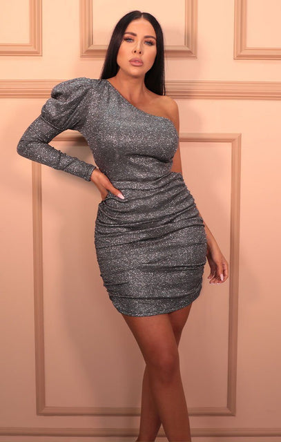 Black Glitter One Shoulder Puff Sleeve Bodycon Mini Dress - Adesina