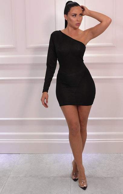 Black Glitter Sparkly One Shoulder Bodycon Mini Dress - Kimmie